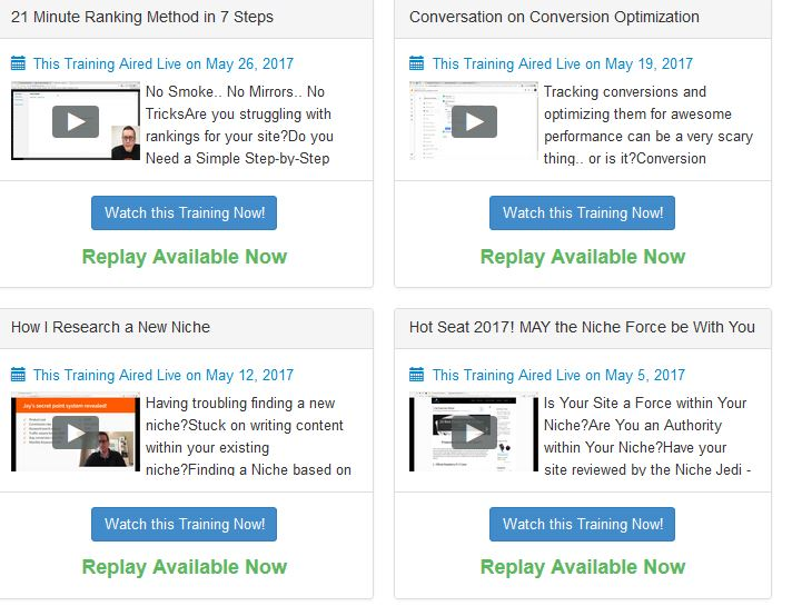 Wealthy Affiliate Video Webinars