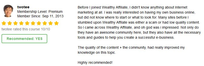 Wealthy Affiliate User testimonials