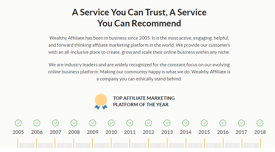 Wealthy Affiliate Platform Statement